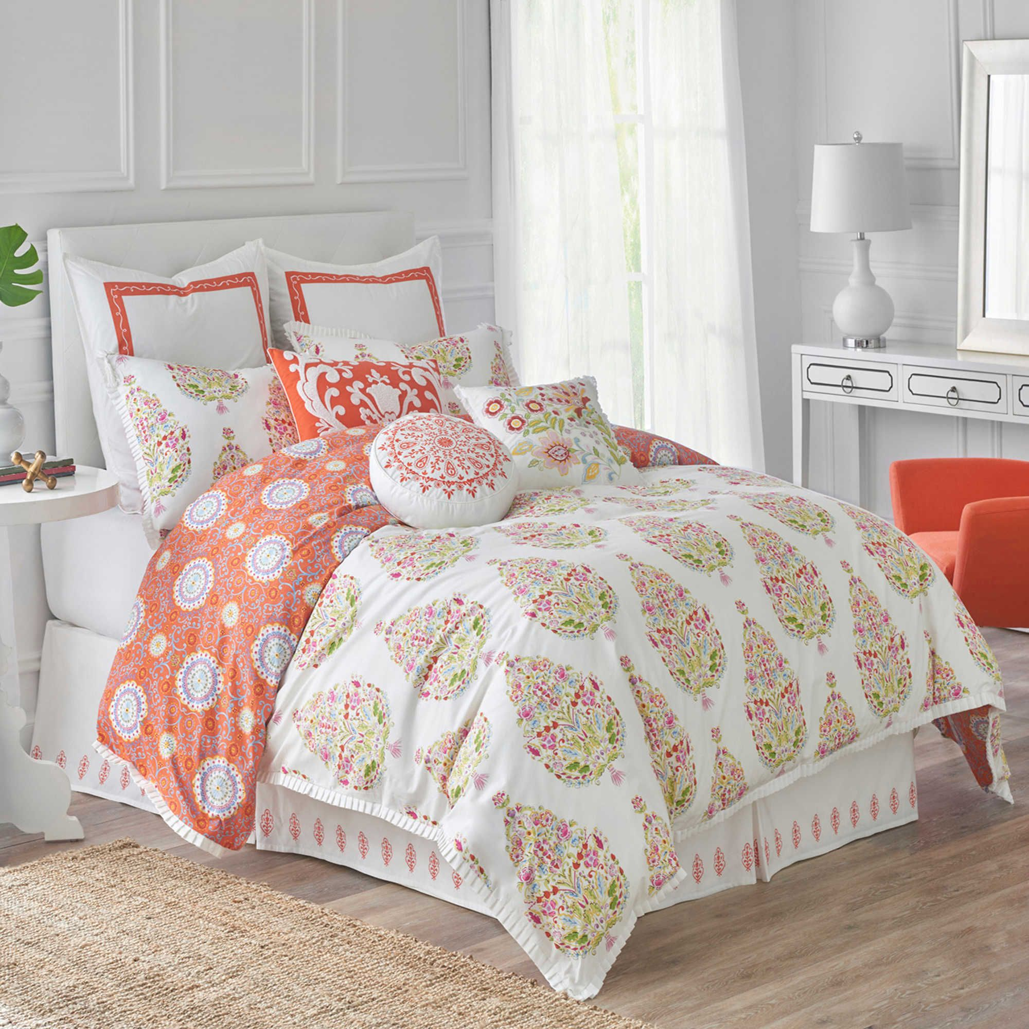 furniture ashley king sets comforter bed orange x queen pillow accent