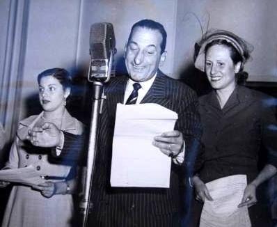 Fidel Pintos, Mabel Landó e Hilda Viñas. RADIO BELGRANO, Buenos Aires, década del 50.