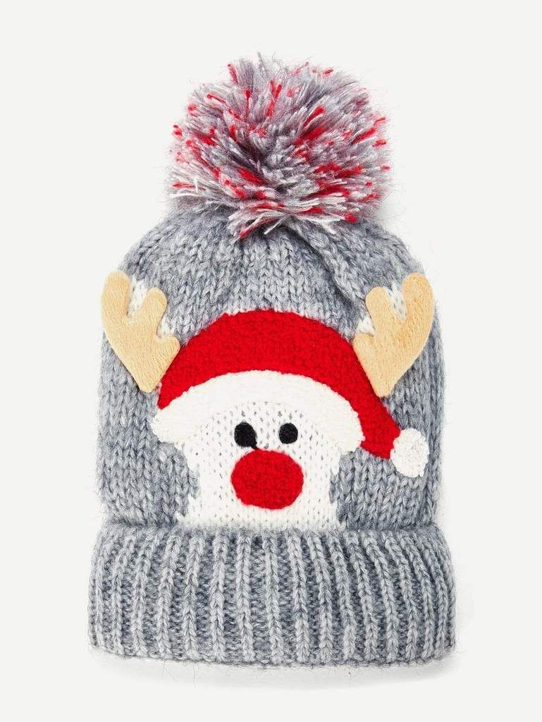 da9a8bb0605 Christmas Kids Pom Pom Knit Beanie Hat