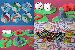 Chutes and ladders, Monopoly and Crayola Crayon Gum paste Cupcake toppers