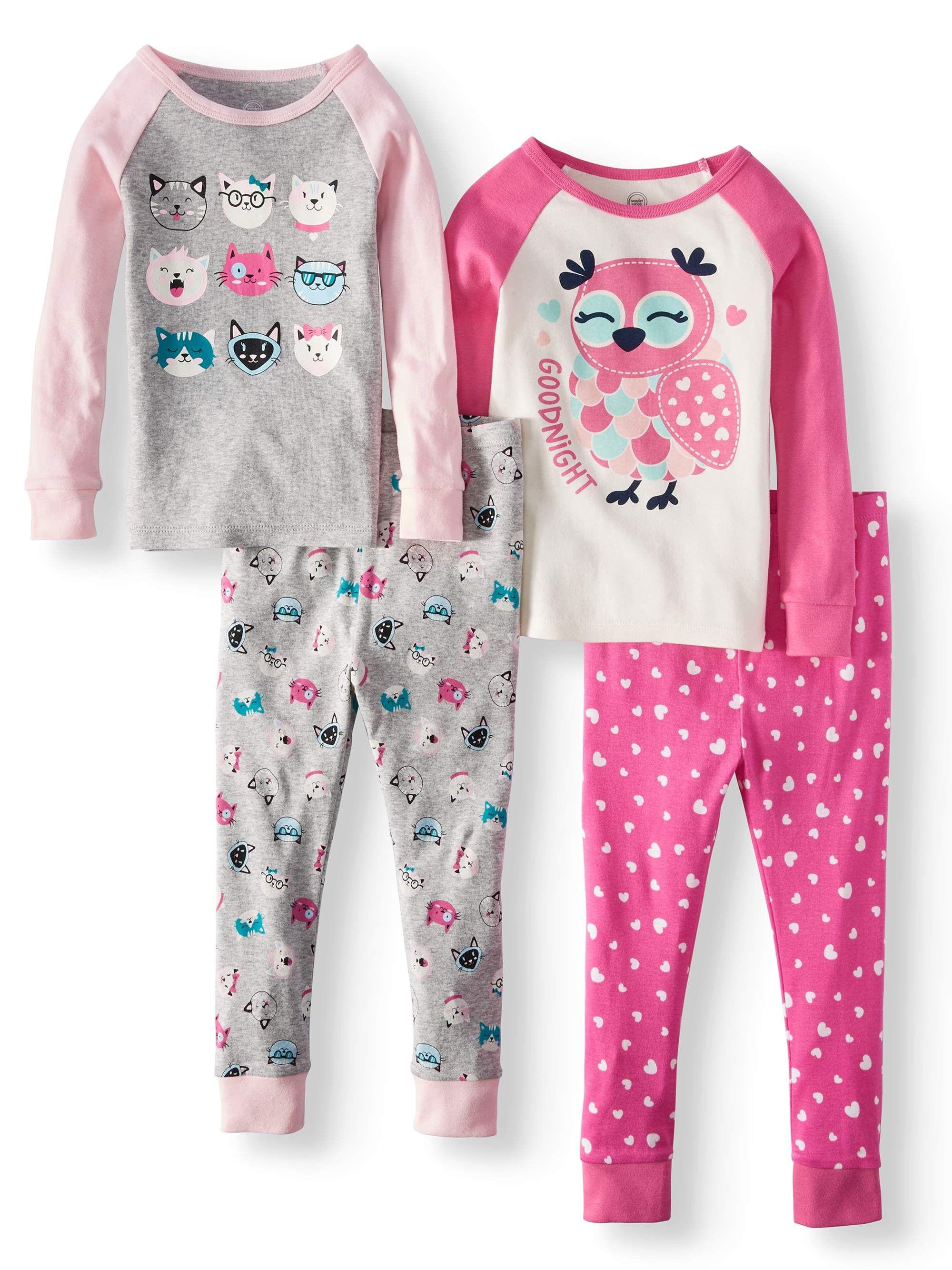 Wonder Nation Cotton Tight Fit Pajamas 4 Piece Set Toddler Girls