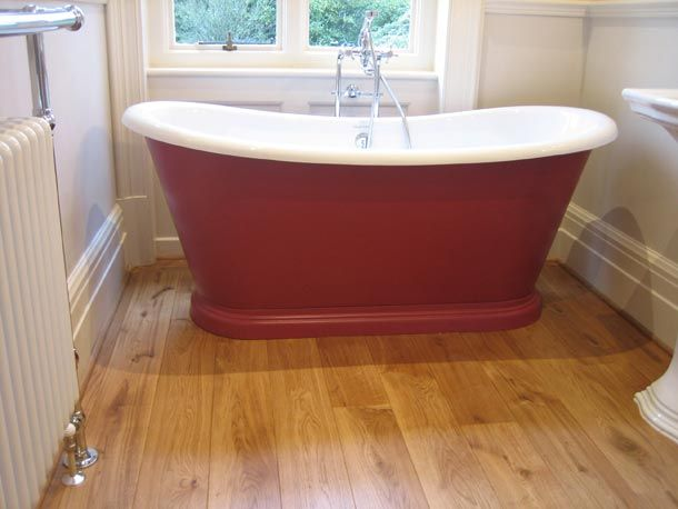 Engineered Wood Floor Bathroom. Love The Contrast Of This Oak Engineered Floor With The Red Bath Tub