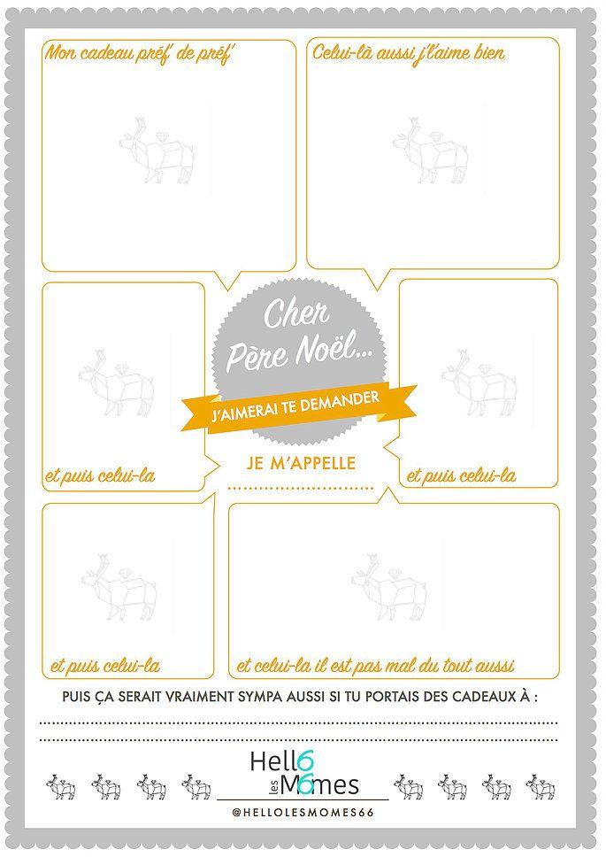 Lettre au p re no l freeprintable diy printable hello les m mes lettre pere noel noel et - Liste pere noel imprimer ...