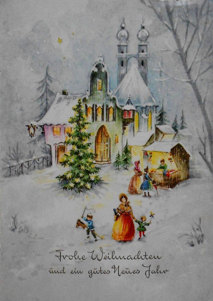 weihnachtskarte weihnachtsmarkt u christbaum neben. Black Bedroom Furniture Sets. Home Design Ideas