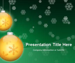Christmas Powerpoint Template Golden Balls Green Christmas