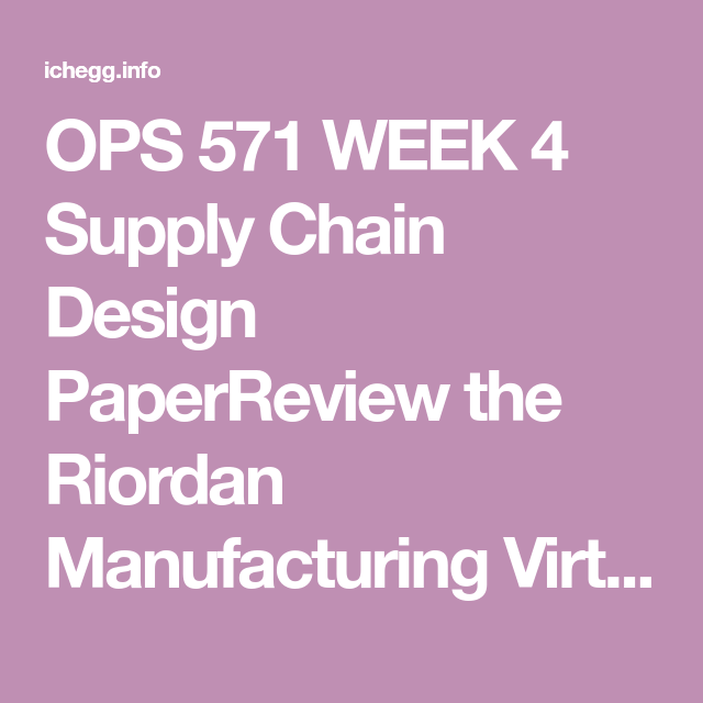 Ops 571 Week 4 Supply Chain Design Paper