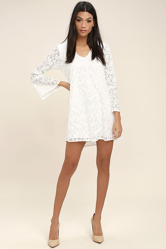 8e601a317d19 The Lucy Love Wild Child White Lace Long Sleeve Dress lets them know you ve  got a sweet side too! Floral lace shapes this lovely shift dress with a  rounded ...