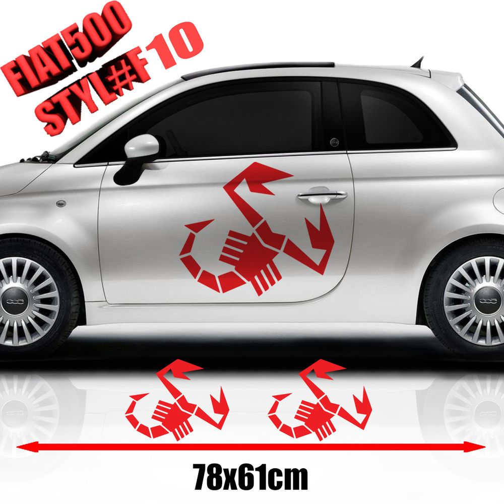 Fiat 500 Abarth Car Side Decal Stickers Graphics Size 78x61 Cm [ 1000 x 1000 Pixel ]