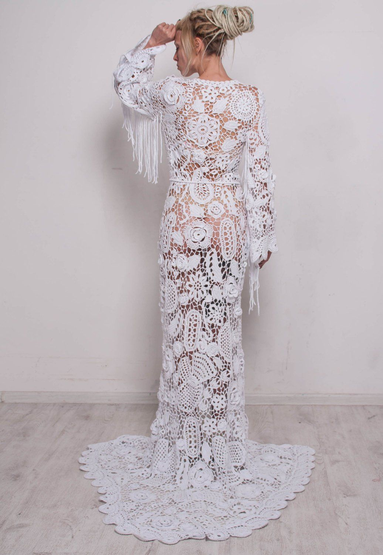 Handmade wedding maxi dress Crochet White Dress wedding