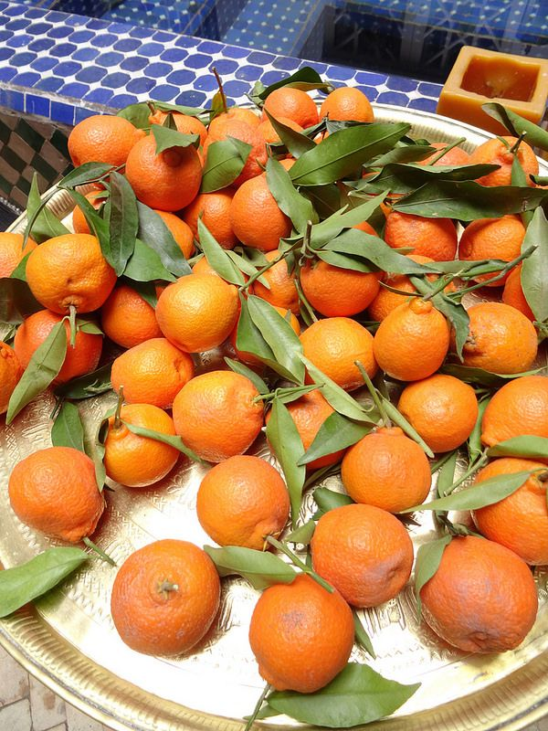 Snack - piles of clementines, Marrakesh, Morocco