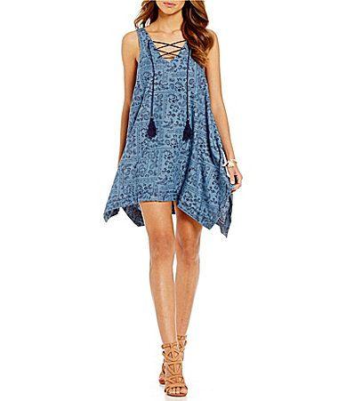 a84060e62de Coco Jaimeson HandkerchiefHem Printed Denim Dress  Dillards