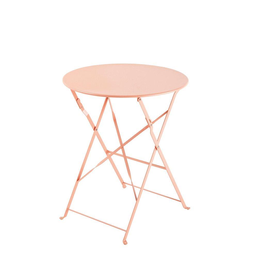 Table de jardin pliante en métal rose D58 | Salon de jardin ...