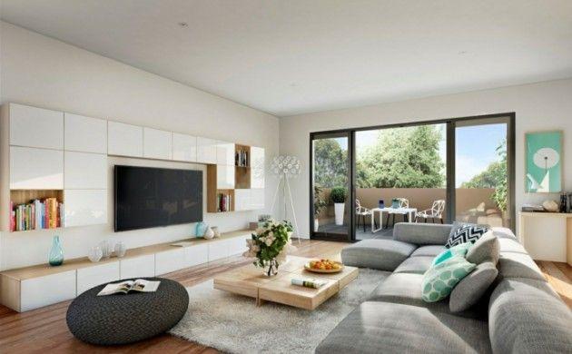 wohnzimmereinrichtung ideen holzfliesen moderne wohnwand buc - moderne wohnzimmereinrichtungen