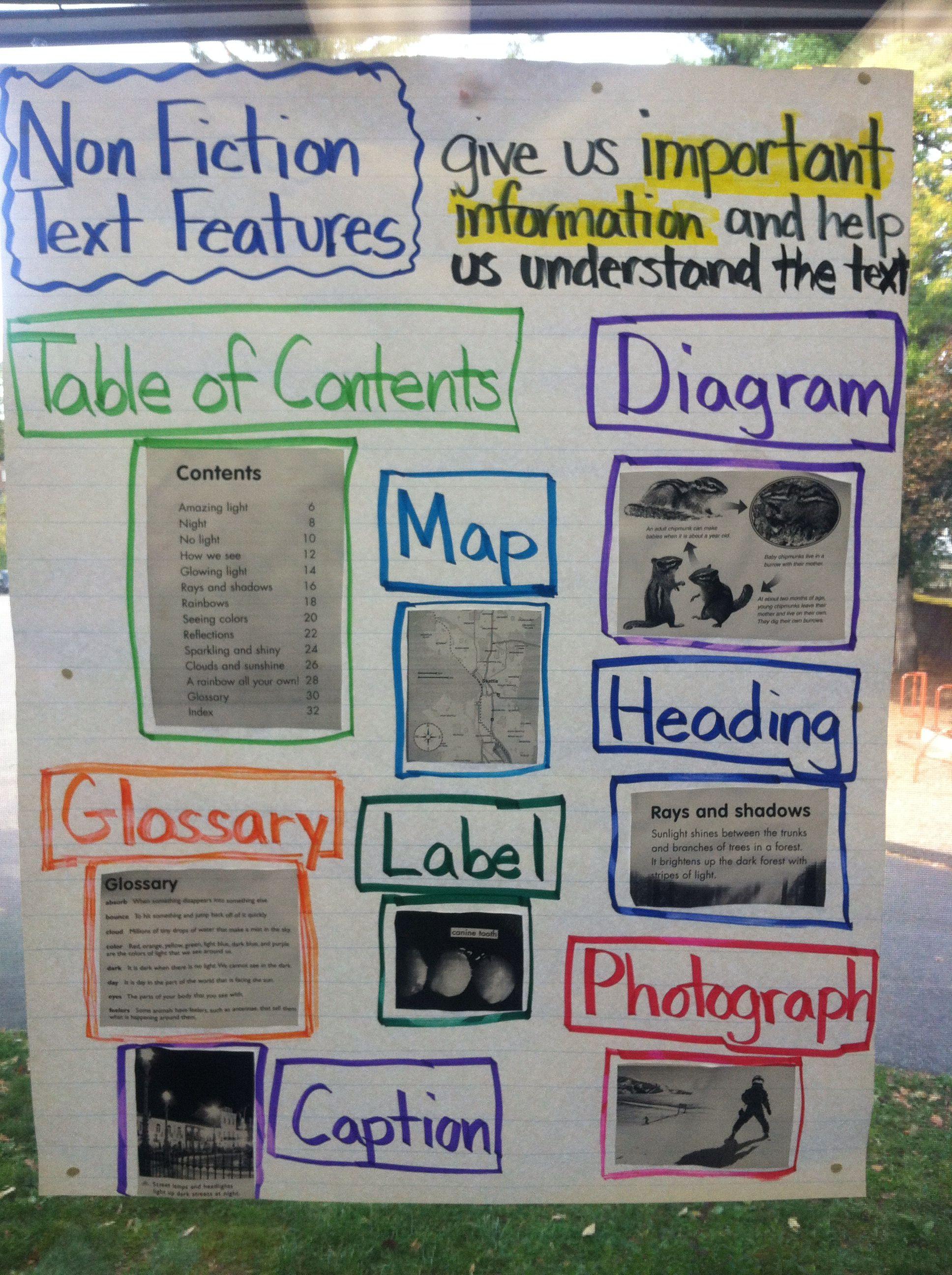 Non Fiction Text Features Nonfiction Texts Text Features