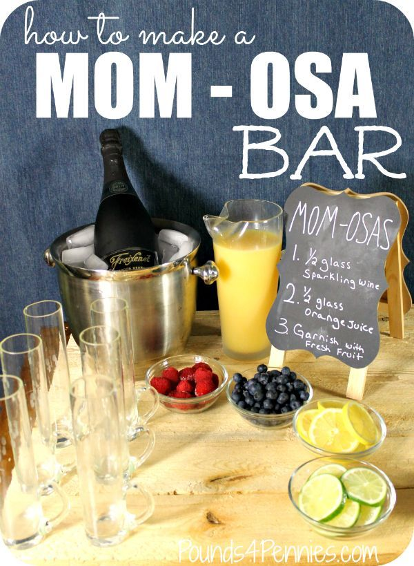 Learn how to make a mimosa Bar for mother's day. Have Mom - osa's on Mother's day. A mother's day treat idea for a party.