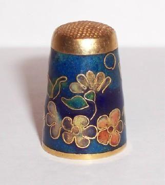 Floral decoration Vintage metal thimble Cloisonne