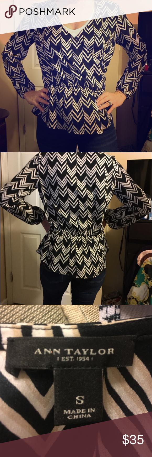 Cute Ann Taylor blouse silky Chevron blouse Ann Taylor Tops Blouses