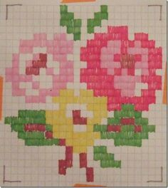 cross stitch pattern flower bouquet made by original poster, very Cath Kidson in look