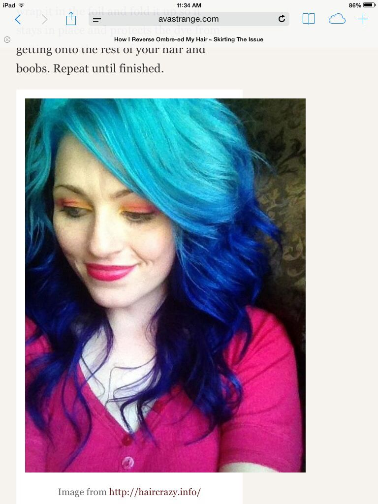 Reverse ombre blue cosmo pinterest reverse ombre and ombre