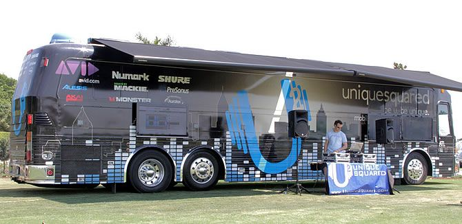 Unique Squared Mobile Studio is powered by Shure Fiestas