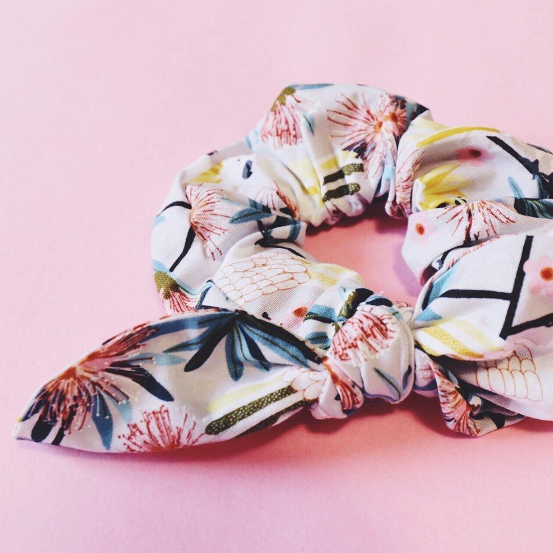 Pink /& White Blossom Print Hair Scrunchies Handmade