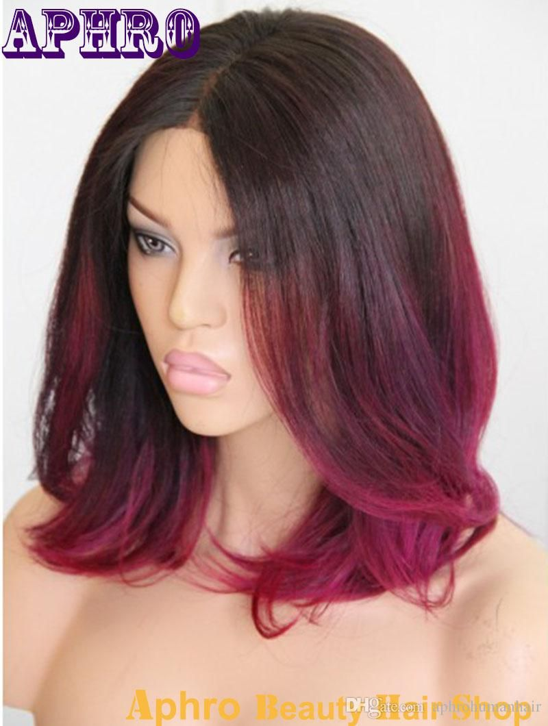 Blackpurple red ombre short haircut brazilian hair glueless silk