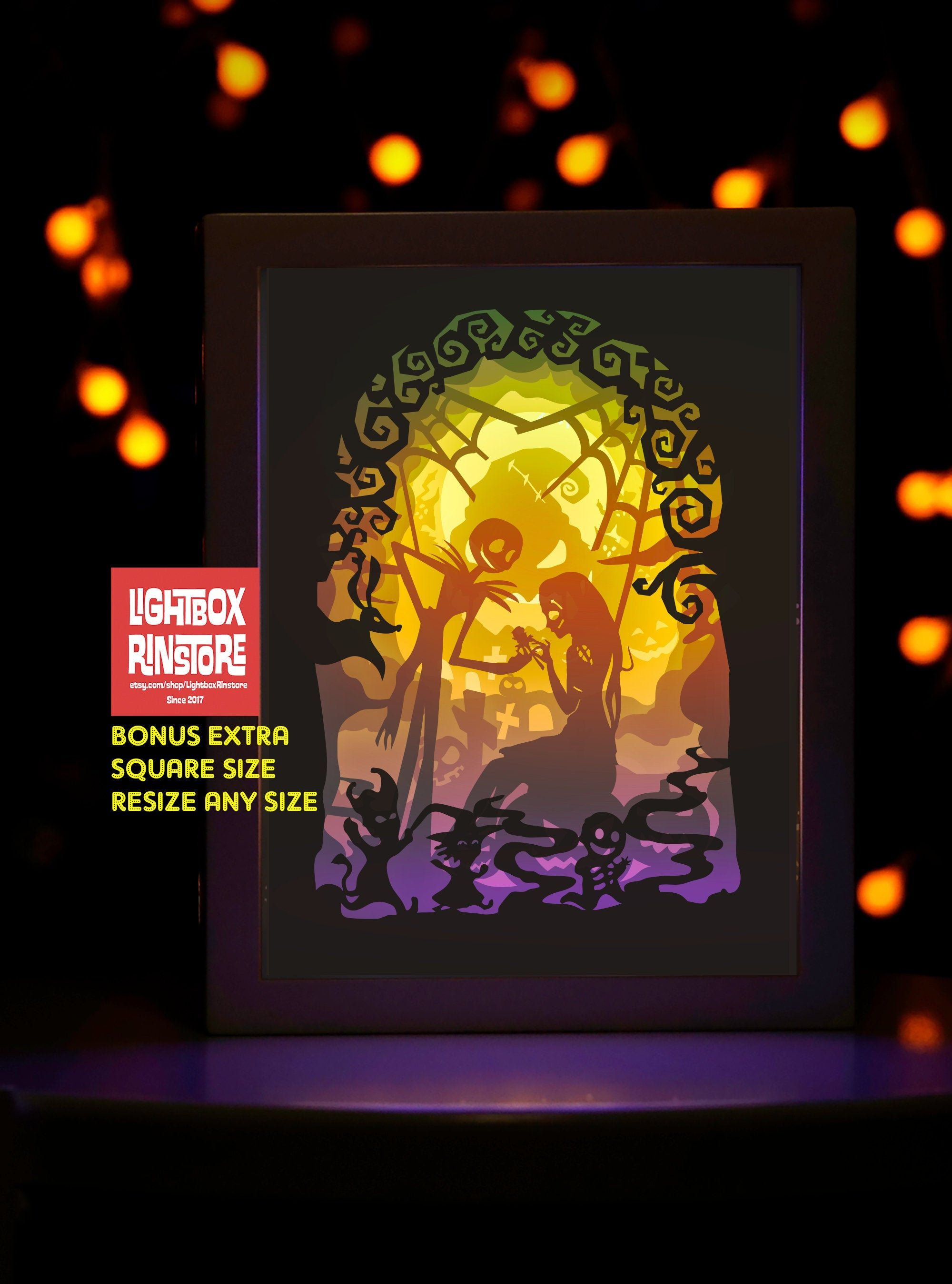 BOGO Free. Ver1 Nightmare Before Christmas (A4 A3 Size)-3D Paper Cutting Light Box Template SVG ...