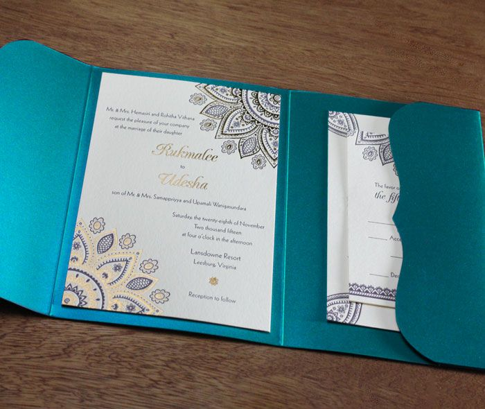 fancy floral hindu mandala in gold foil and letterpress printing on