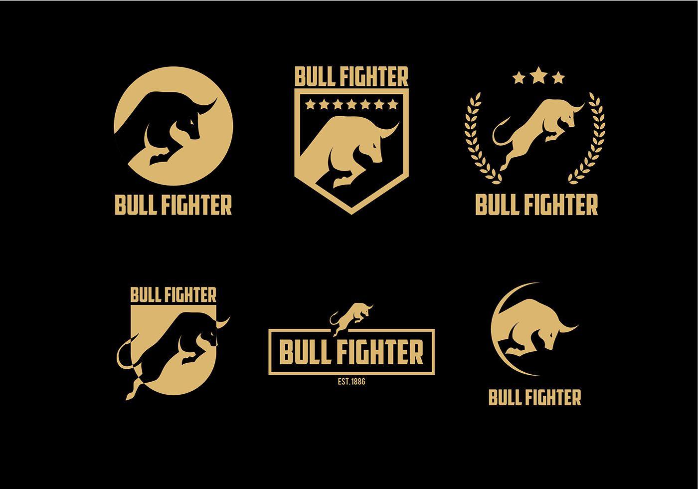 Bull Fighter Gold Logo Free Vector Bull Logo Pet Logo Design Vector Free