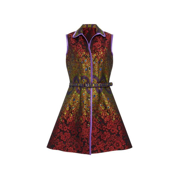 Cynthia Rowley     Brocade Belted Dress ($475) ❤ liked on Polyvore featuring dresses, brocade dress, dresses with belts, belted dress, red a line dress and sleeveless a line dress