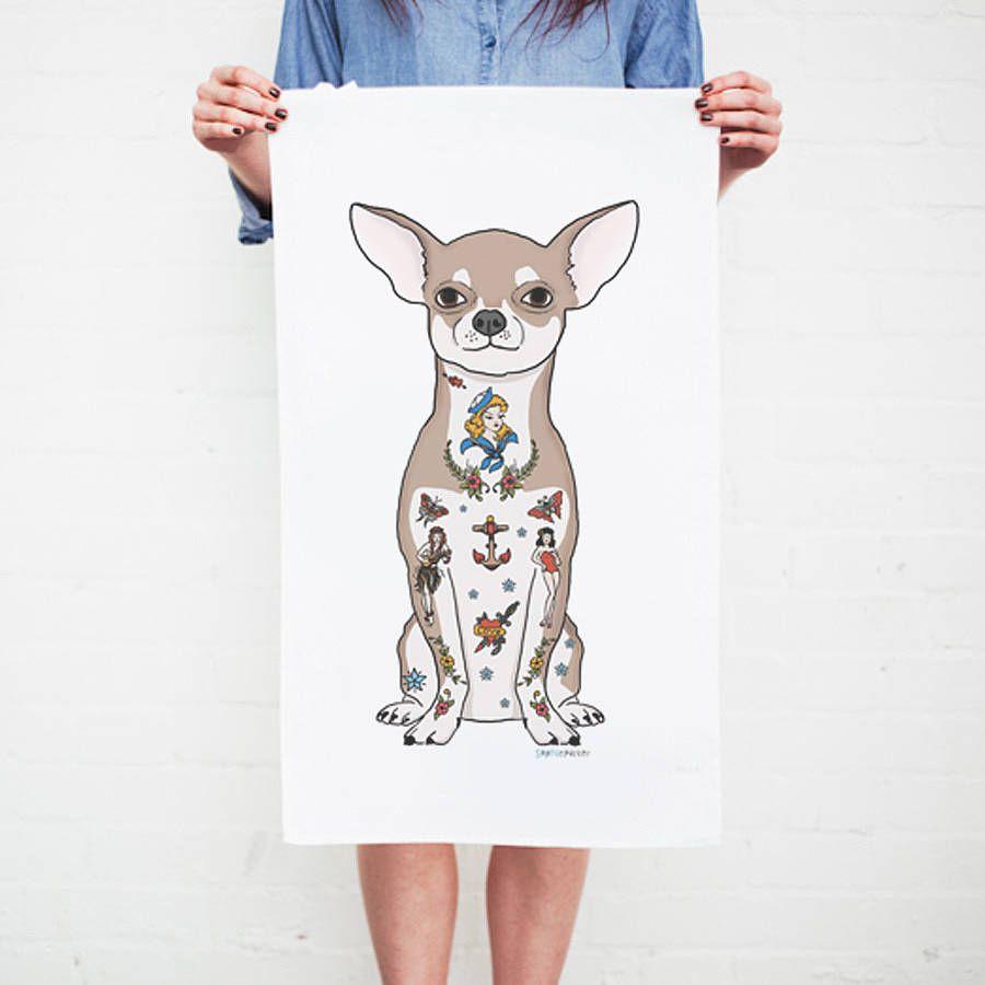 Chihuahua Dog Tattoo Tea Towel Honden Tekenen