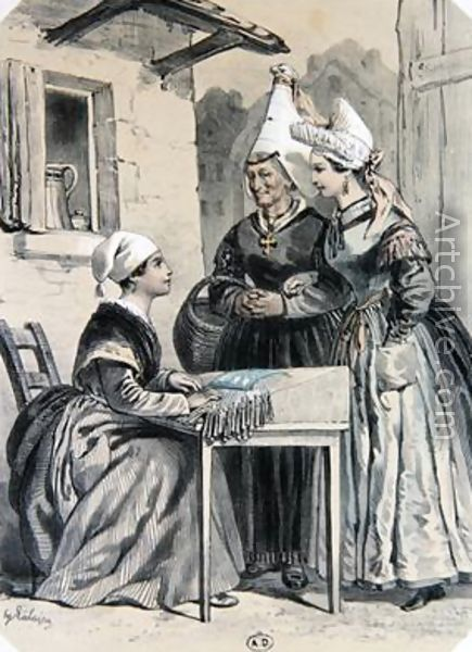 Lacemakers of Caen in Normandy, Francois-Hippolyte Lalaisse