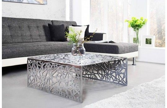 Table Basse Design Argent Au Look Original Et Contemporain Table De Salon Design Table Basse Design Table De Salon