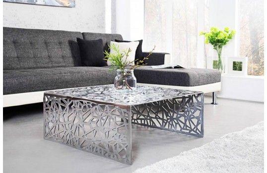 table basse design argent au look