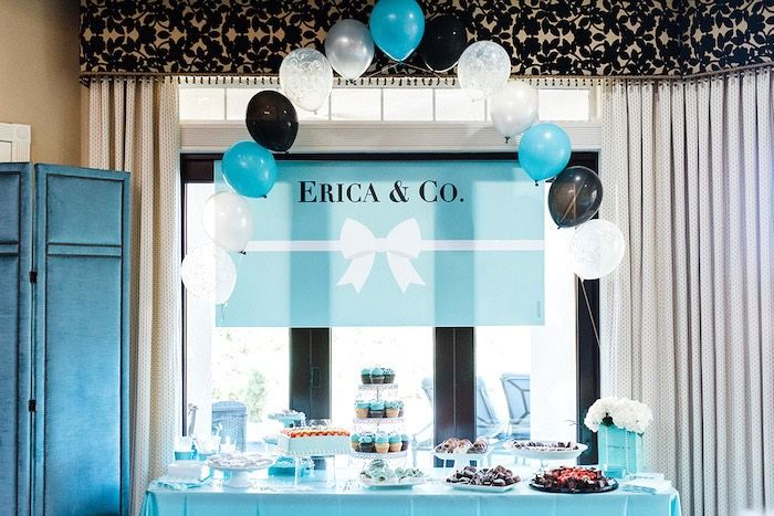 7782cb686fc8 Dessert table from a Tiffany   Co. Bridal Shower on Kara s Party Ideas
