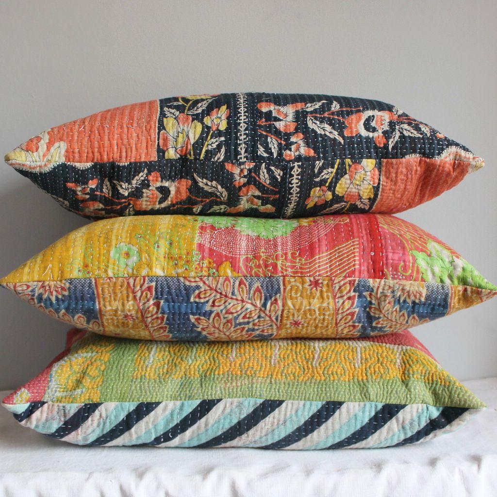 Kantha pillows blues pinks reds handmade cushions cushion pillow