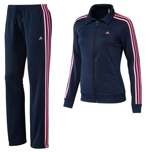 Adidas Ess 3S Kn Suit WhtJoypnk | Ropa deportiva linda