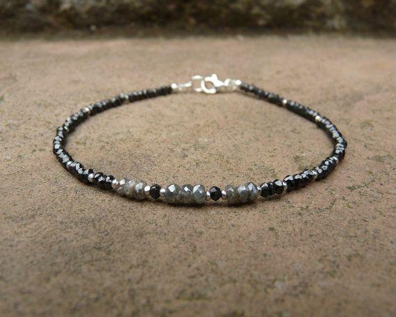 Black Spinel and Silverite Gemstone Bracelet. Black and Grey Bracelet. Small Beaded Bracelet. Boho. Gemstone. Minimalistic. Heling Crystal.