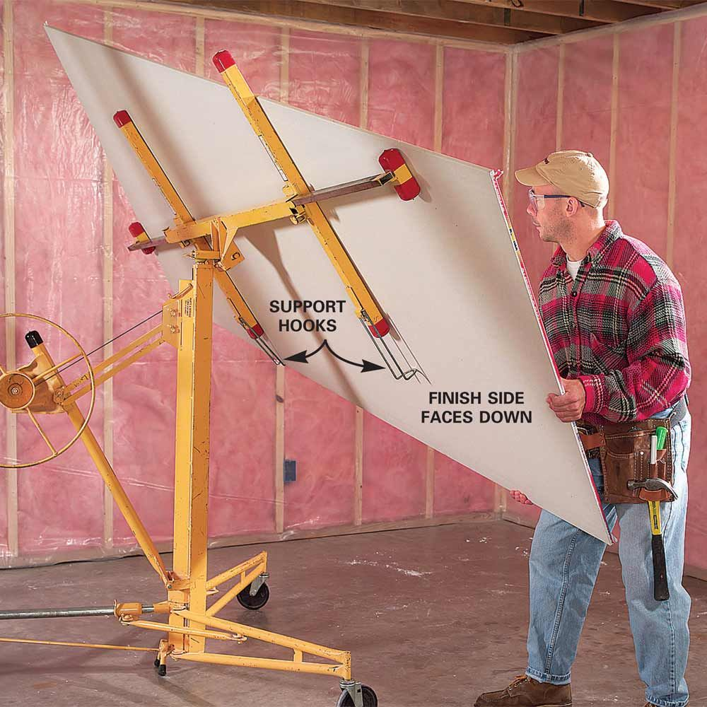 Tips For Easier Diy When You Work By Yourself Hanging Drywall Drywall Lift Drywall