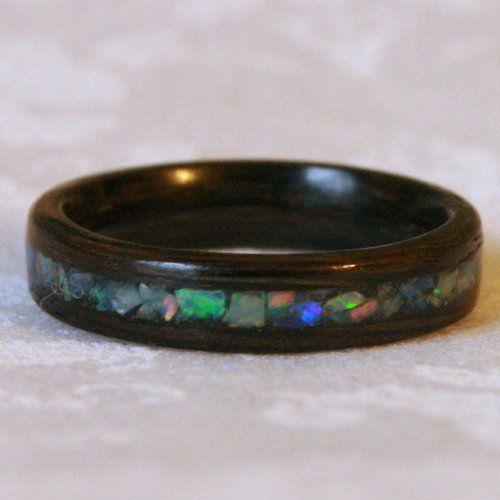 mnmwoodworks wood wedding ring bog oak wood inlaid with opal stones - Stone Wedding Rings