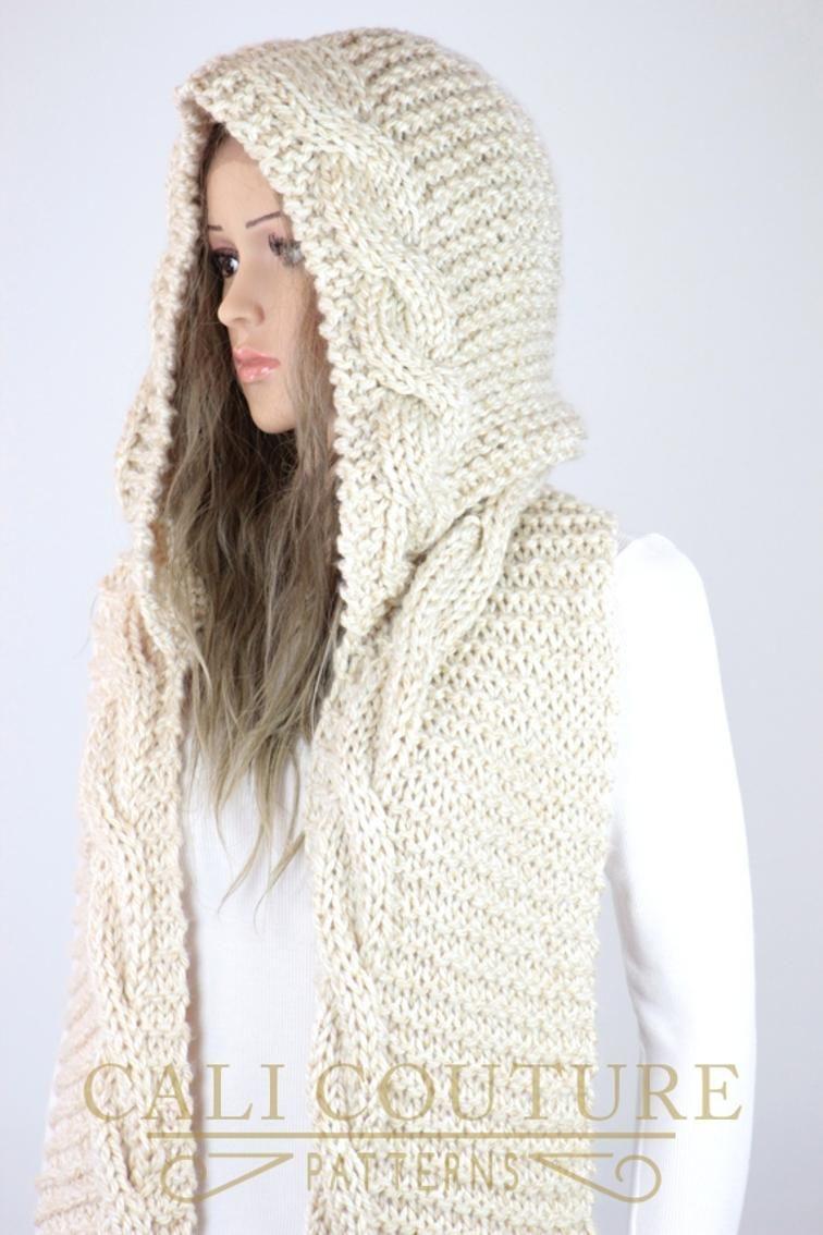 Knit Hooded Cable Scarf - Adele #807 CCS | I ɭღvє Kŋɪʈʈɪŋg | Pinterest