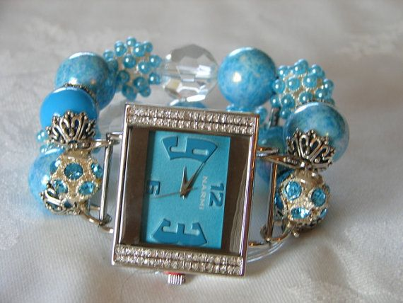 Aqua Beaded Watch Band and Face  Chunky  by BeadsnTime on Etsy, $30.00