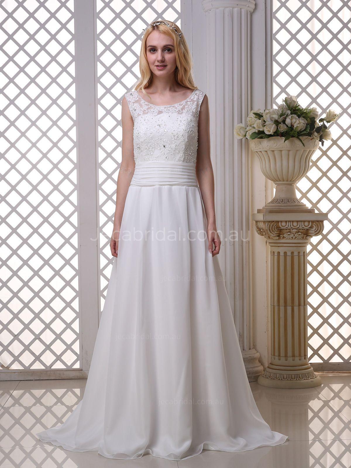 Illusion Scoop Neckline Modest Wedding Dress W1021(画像あり)