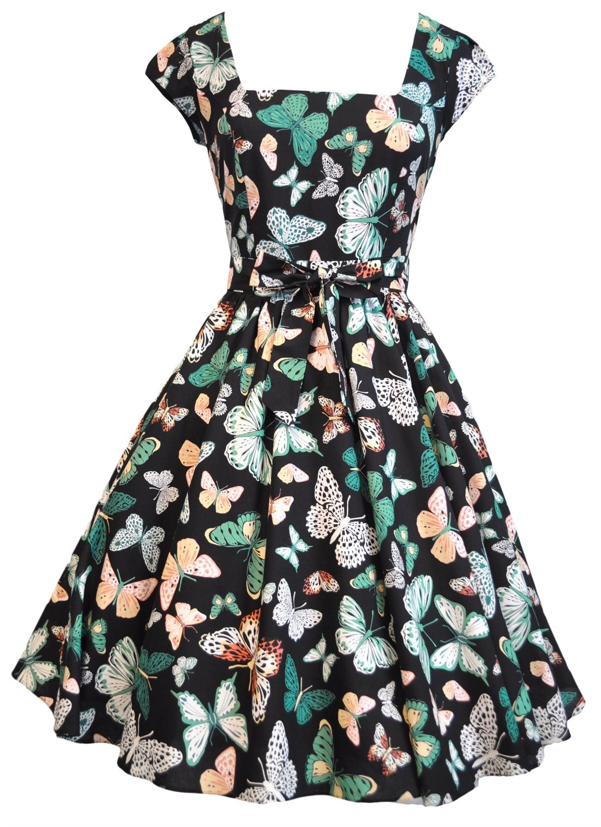 May 26th Suit Up Swing Style: Cute Butterfly On Black Swing Dress