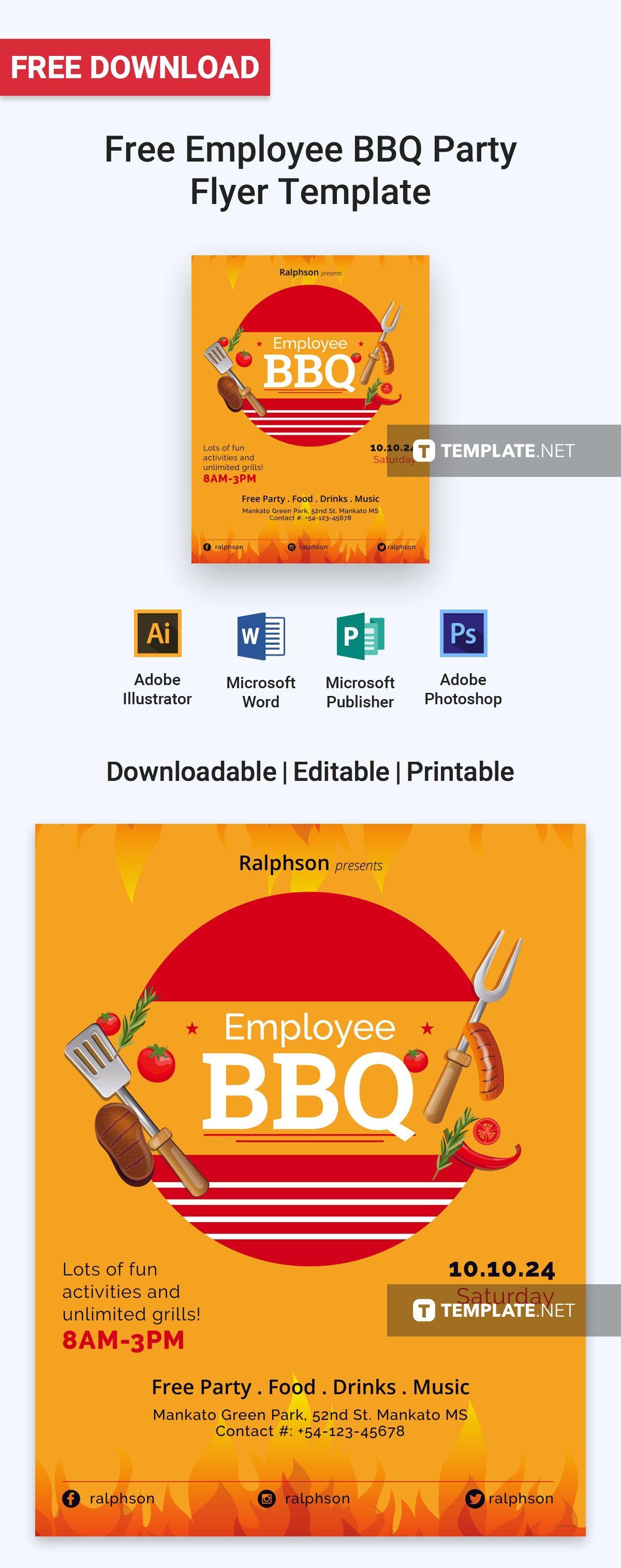 free employee bbq party flyer free flyer templates pinterest