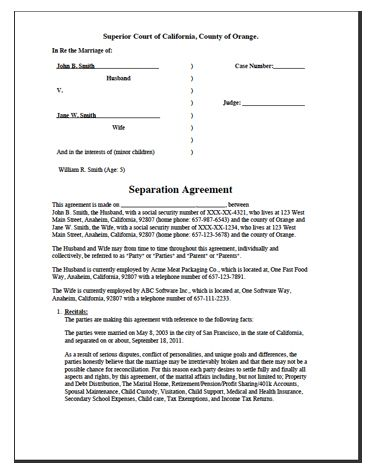 Printable Sample Divorce Template Form Laywers Template Forms - print divorce papers