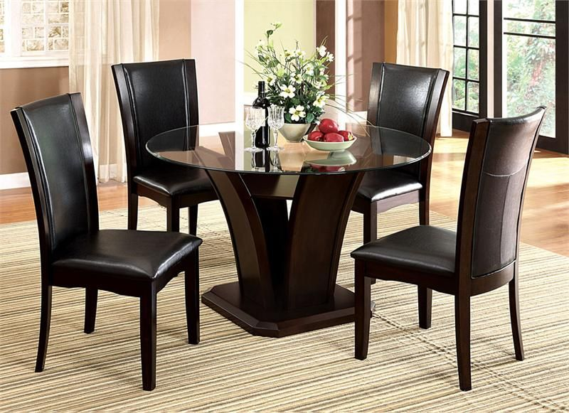 54 Manhattan Round Glass Table With Chairs Glass Round Dining