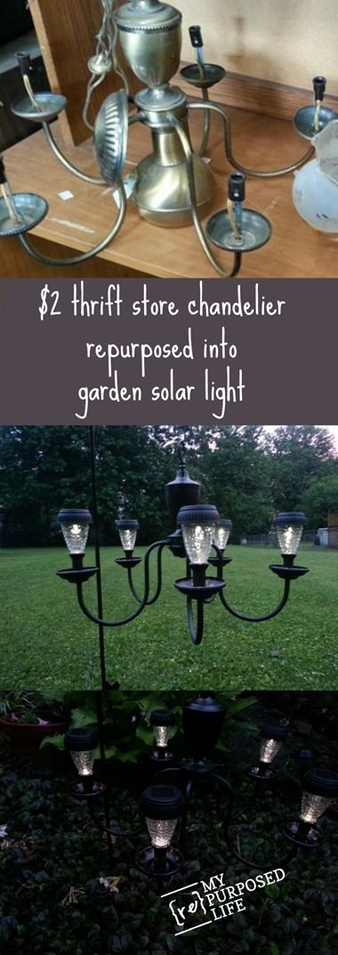 My Repurpose Life Thrift Chandelier Repurposed Garden Patio Solar Light
