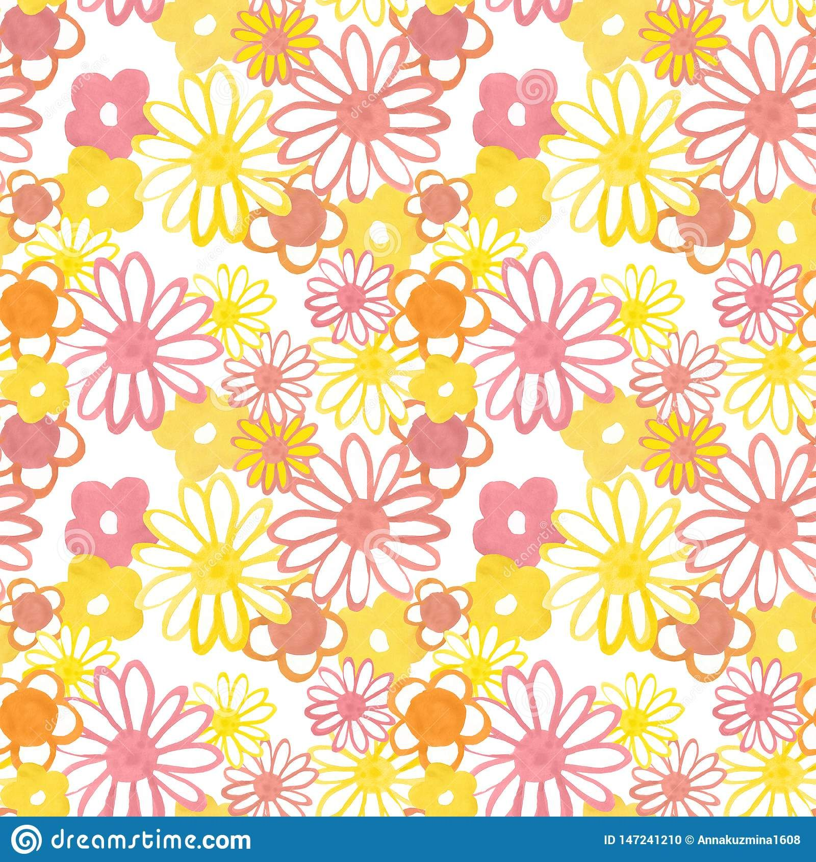 Pink Yellow And Orange Floral Seamless Pattern Bohemian Vintage Pattern In 60s And 70s Style Flower Power Ye Flower Power Seamless Patterns Vintage Pattern