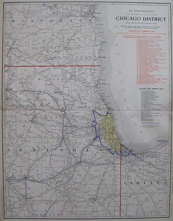 1914 Antique CHICAGO Map of Chicago District with Railroad